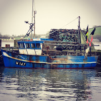Pictures of Ireland: blue fishing boat in Youghal County Cork