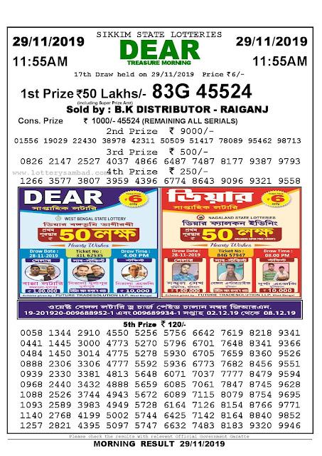 Lottery Sambad 29-11-2019 Sikkim State Lottery Result 11.55 AM-sambadlottery.org