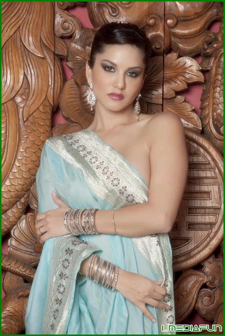Sunny Leone July 2012 In Blue Sexy Saree Photoshoot Poses Hot Stills  Hot Celebrities All Over -8944