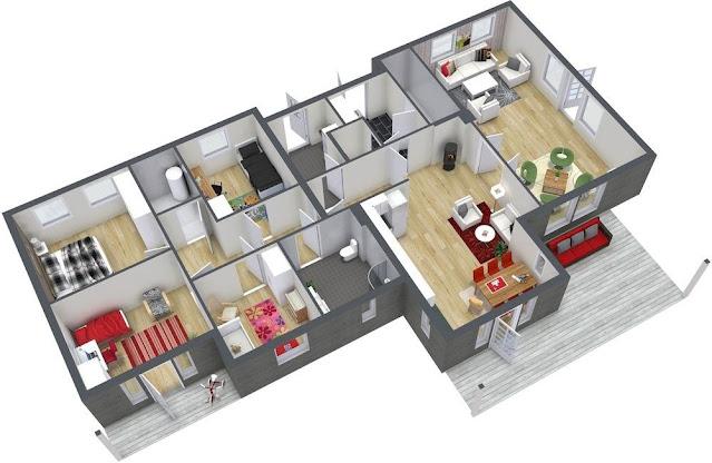 Rumah 1 Lantai 3 Kamar Tidur yang Panjang