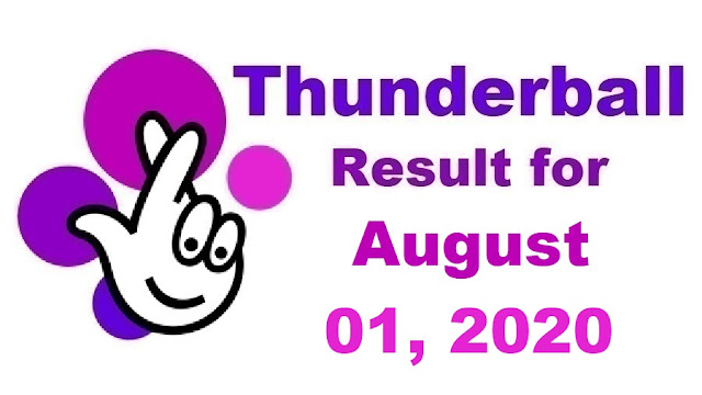 Thunderball Results for Saturday, August 01, 2020