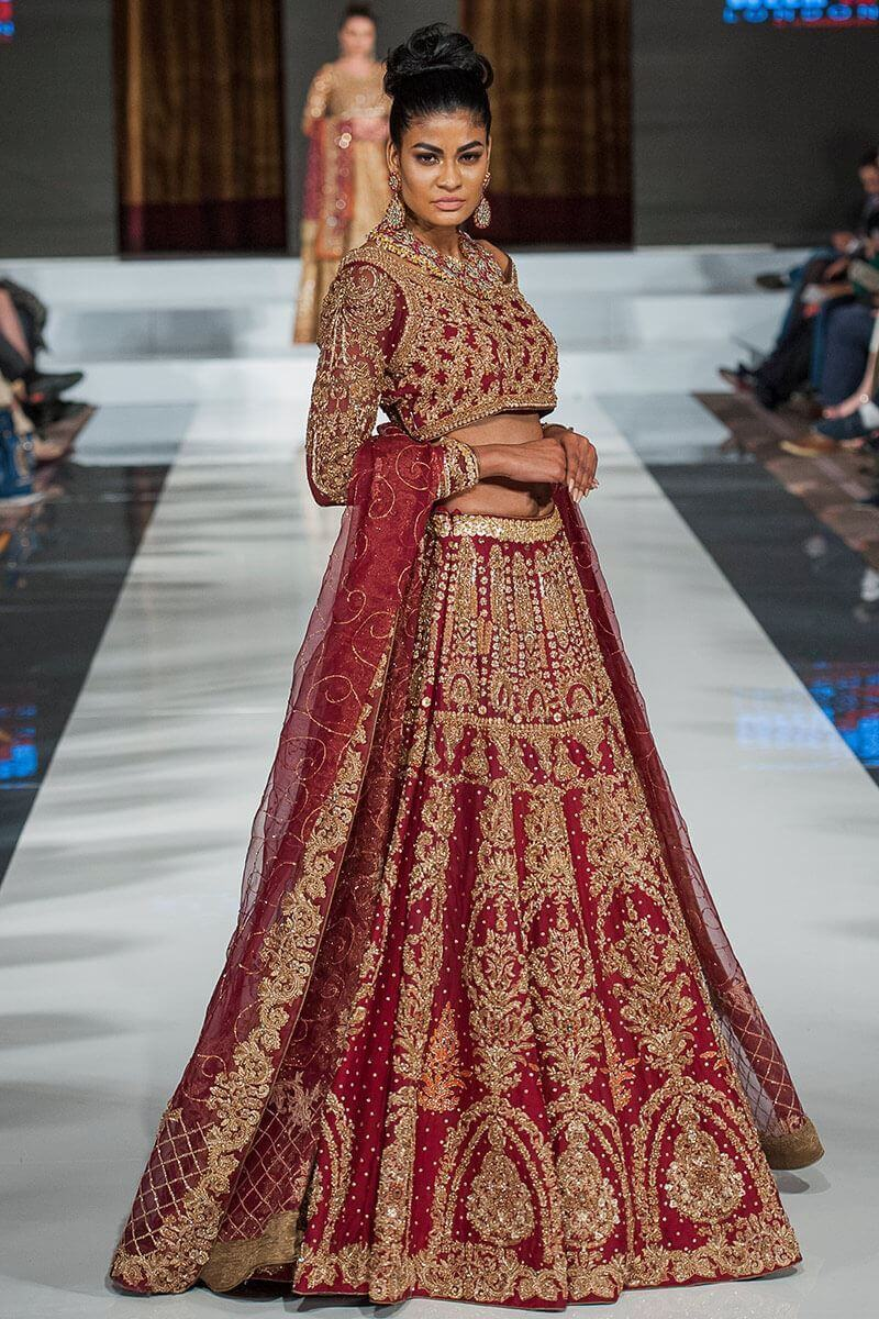 Mumtaz Mahal Collection by Aisha Imran Maroon and Golden Bridal Lehenga Choli