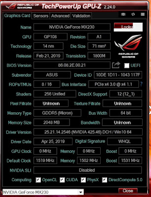 GPU-Z ASUS VivoBook A409FJ