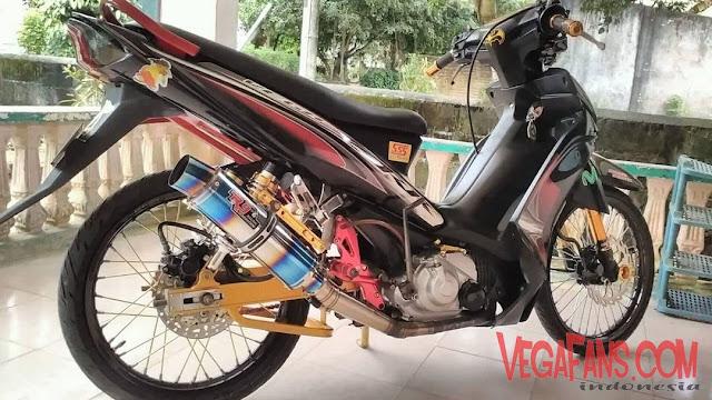 Vega ZR Modif Racing Hitam Knalpot R9
