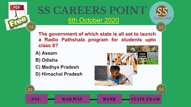 6th October 2020 CURRENT AFFAIRS PDF | Target RRB NTPC SSC GROUP D
