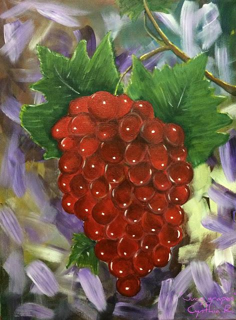 uvas rojas, racimo de uvas,pintura acrílica