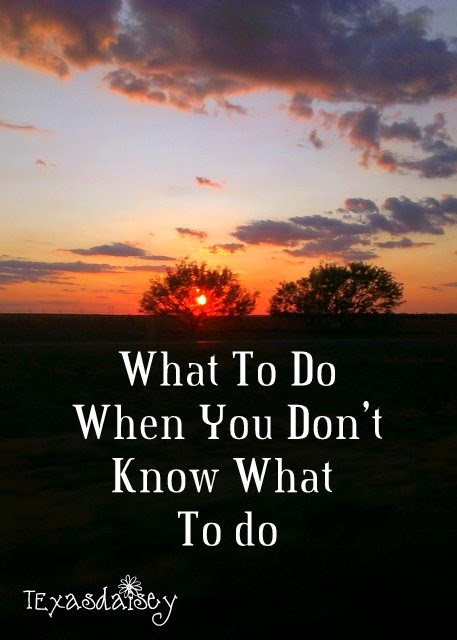 Here is what to do when you don't know what to do.