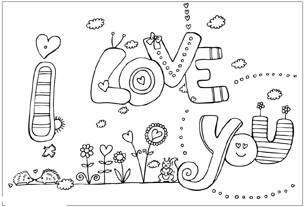 I love you valentines coloring pages realistic coloring for Love you coloring pages