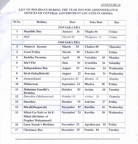 List Of Holidays And Restricted To Be Observed By The Central Government Offices In Odisha Calendar Year 2018