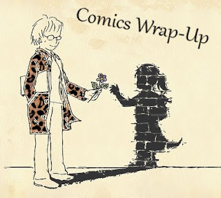 Comics wrap-up title image with manga-style girl handing her shadow a flower