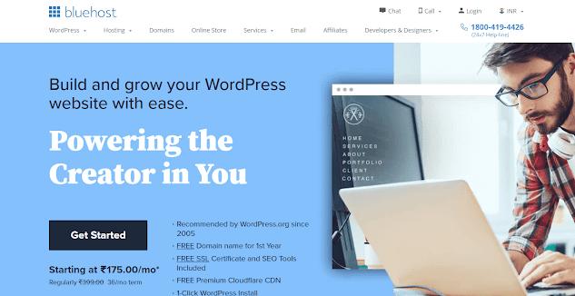Bluehost Website Homepage Screnshot