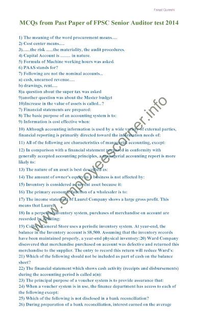 FPSC Past Paper 2014 Senior Auditor (Military Accounts)