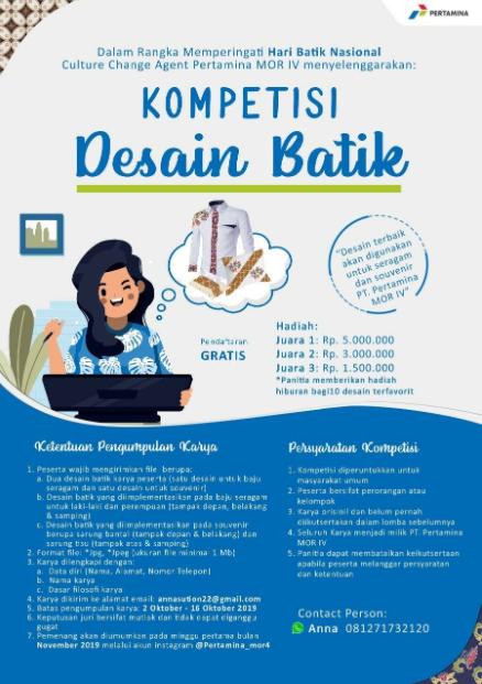 [Gratis] Lomba Desain Batik Nasional 2019 di Pertamina