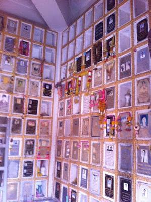 Wall of memories at a temple in Khon Kaen