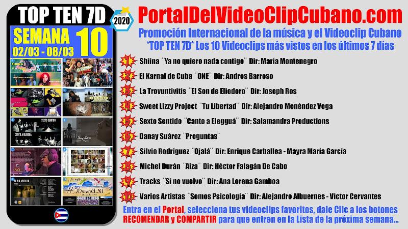 Artistas ganadores del * TOP TEN 7D * con los 10 Videoclips más vistos en la semana 10 (02/03 a 08/03 de 2020) en el Portal Del Vídeo Clip Cubano