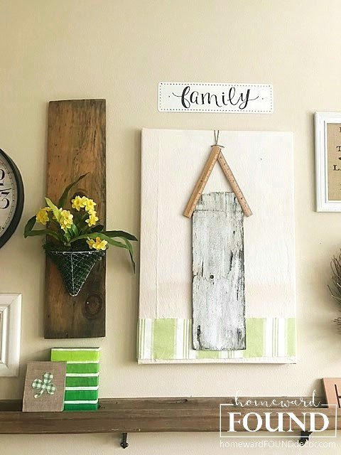 decorating, DIY, diy decorating, creativity, dollar store crafts, fast cheap and easy, junk makeover, re-purposing, salvaged, seasonal, spring, up-cycling, wall art, gallery wall, salvage art, home decor, spring home decorating