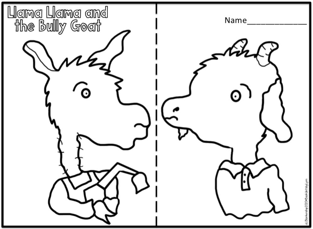 LLAMA LLAMA AND THE BULLY GOAT BOOK CRAFT ~ Book Units by Lynn