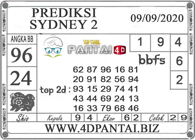 PREDIKSI TOGEL SYDNEY 2 PANTAI4D 09 SEPTEMBER 2020