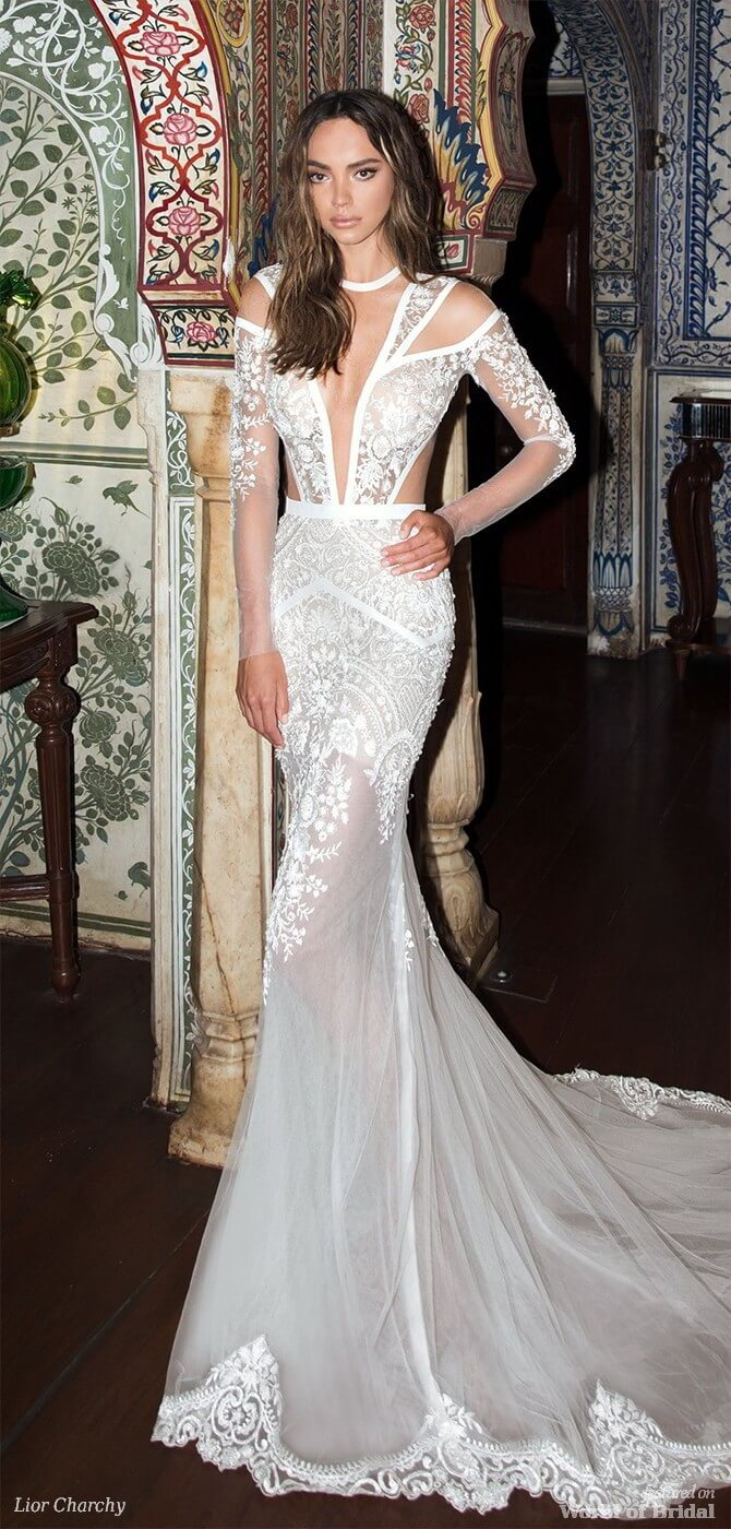 879247d599b7 ... couture 2015 high neckline sheer sleeves illusion pleated bodice floral  embroidery romantic high low. Source: weddingdressesguide.com read article.  Lior ...