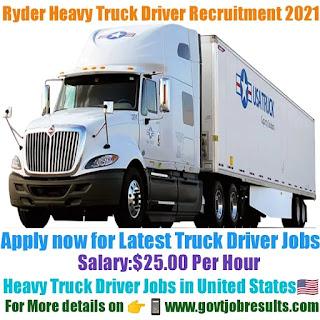 Ryder Heavy Truck Driver Recruitment 2021-22