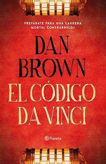 Portada de la novela de Dan Brown El Código da Vinci, donde en un fondo rojo hay un criptex dividido en dos, la parte superior en la parte inferior de la portada, y viceversa.
