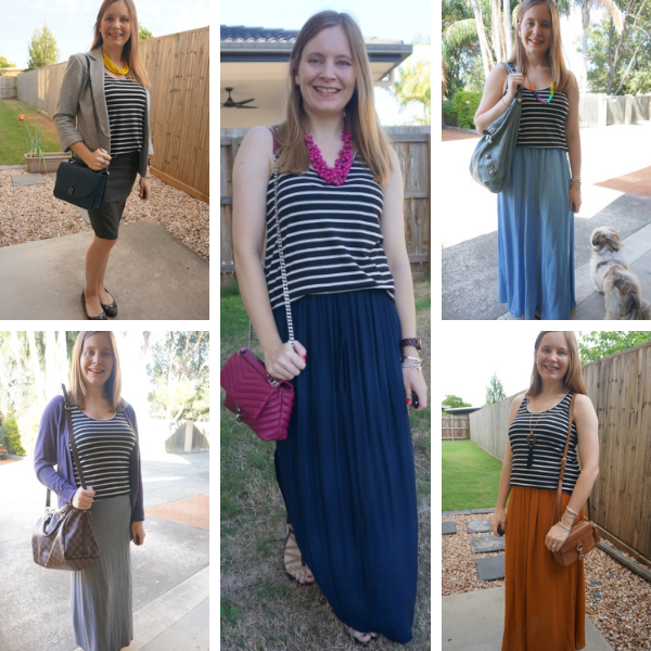 5 outfit ideas with a black tank and skirts awayfromtblue