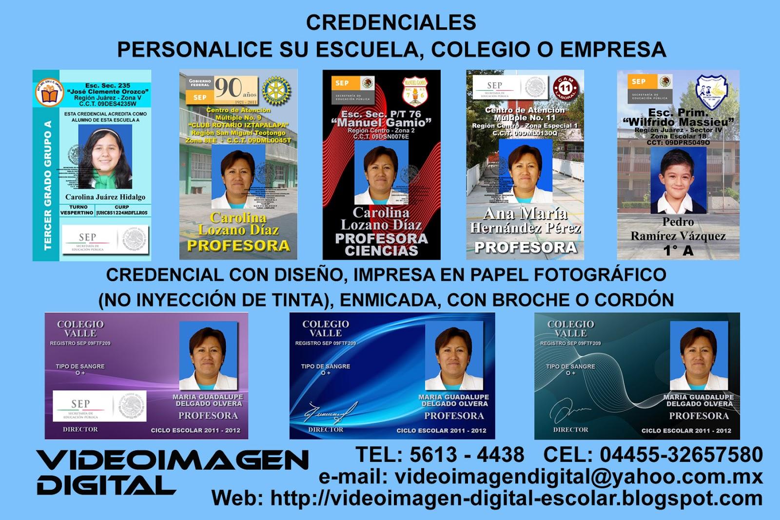 VIDEOIMAGEN DIGITAL ESCOLAR: CREDENCIALES