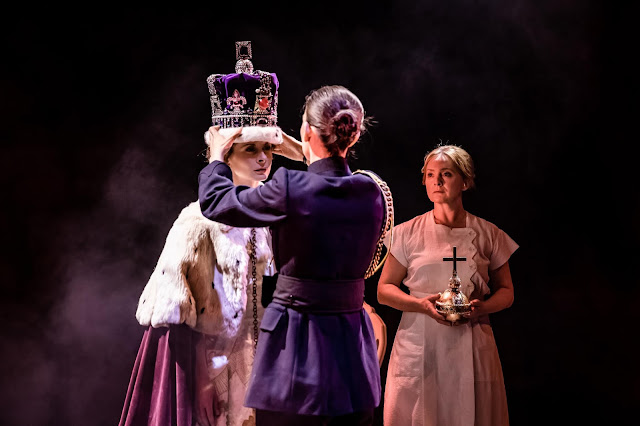 The Audience - Faye Castelow (Queen), Sharon Singh (Equerry). Lizzie Hopley (Bobo)