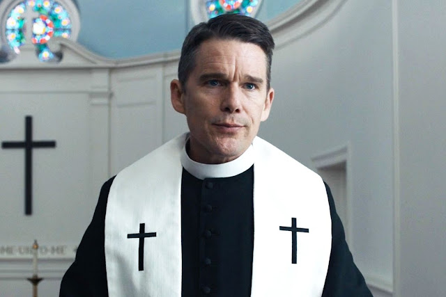 "Ethan Hawke as a plagued preacher in ""First Reformed"""