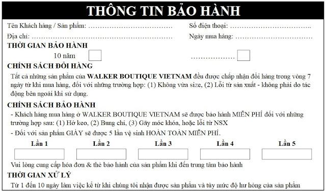 Thẻ bảo hành Walker Boutique Vietnam