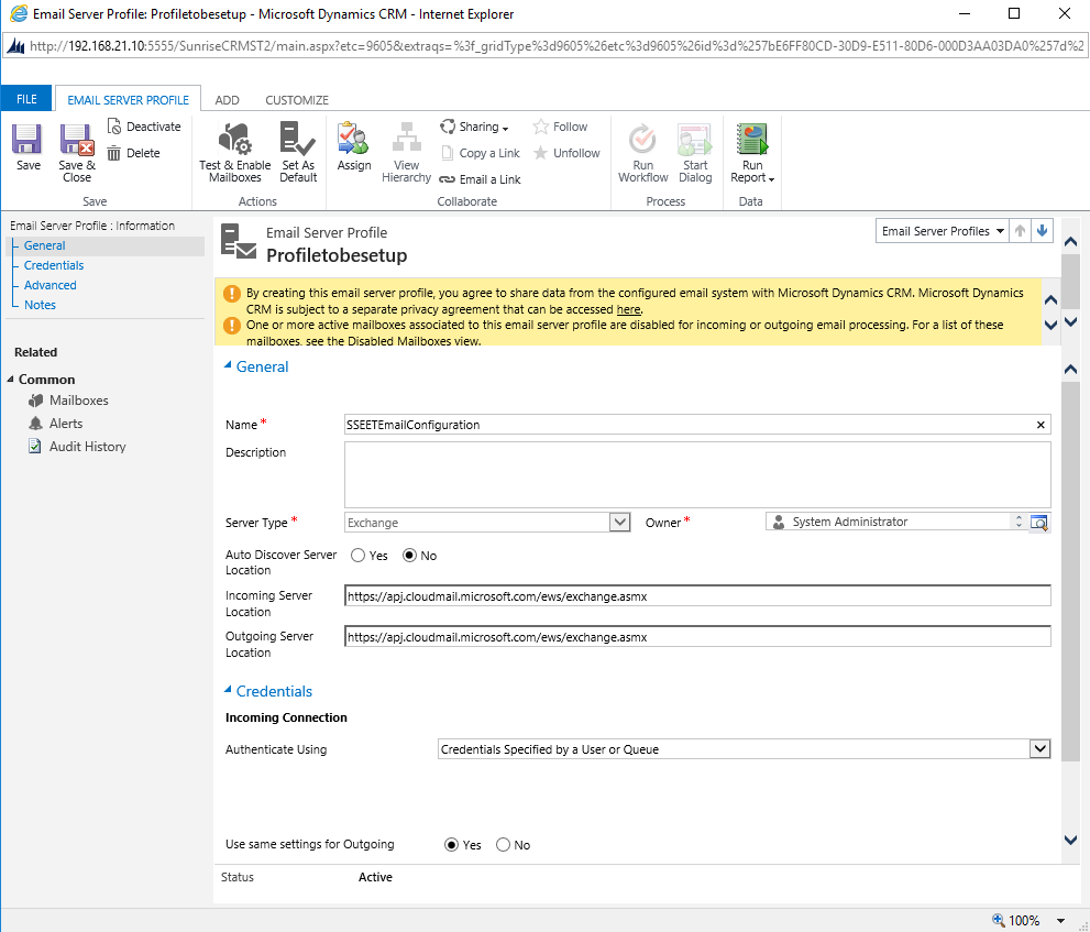 Email Server Side Configuration And Microsoft Dynamics CRM - Codemio