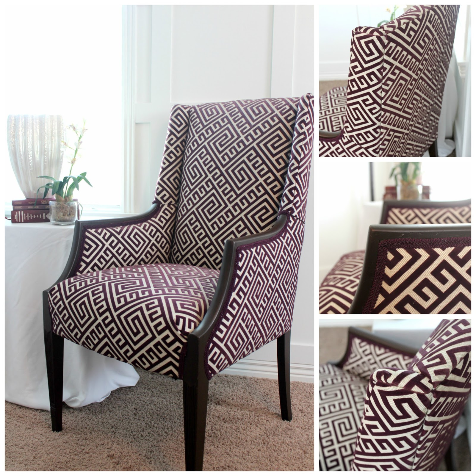 Stately Chair Covered In A Greek Key Material. Material Is Reddish Purple  Flocked Design And A Beige Linen Background.