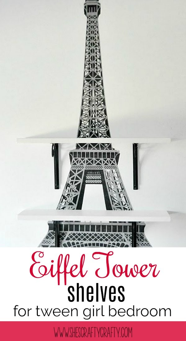 Eiffel Tower wall shelves for Teen or Tween Girl Paris themed bedroom