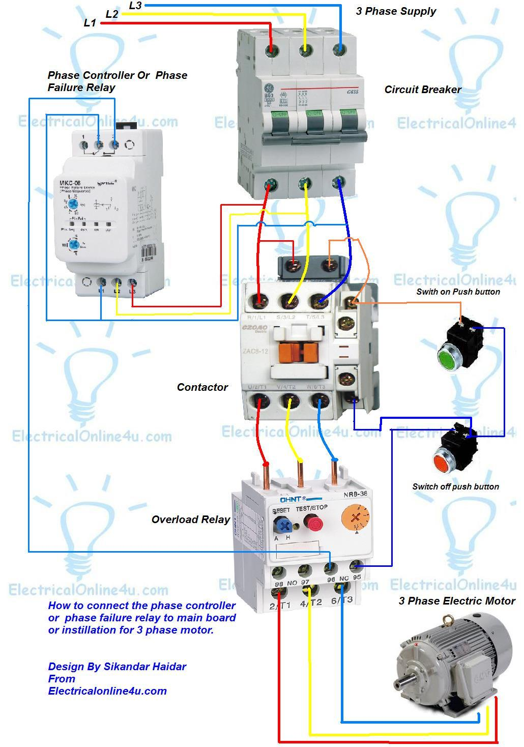 phase controller wiring phase failure relay diagram electrical contactor wiring diagram single phase at Contactor And Overload Wiring Diagram