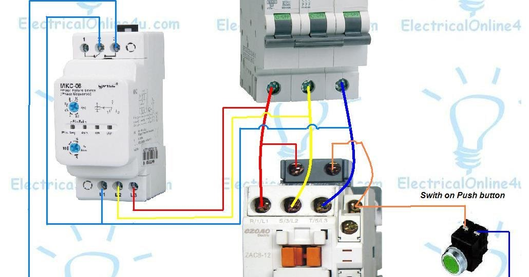 contactor wiring diagram single phase lighting 25 pair color code controller / failure relay | electrical online 4u