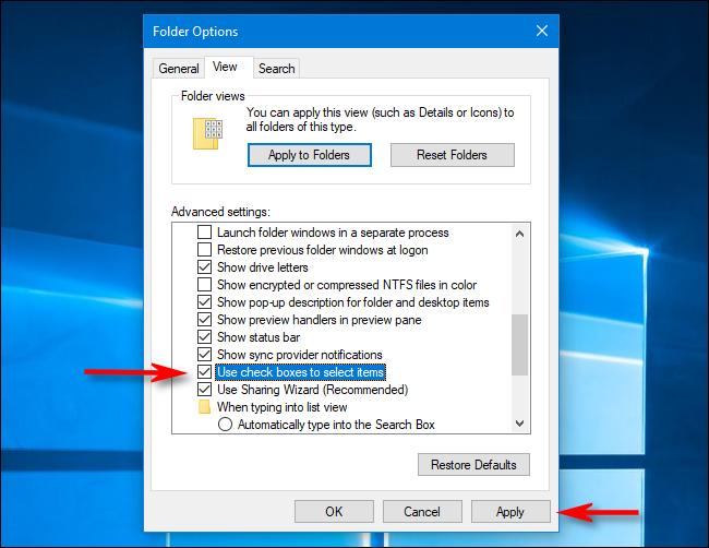 قم بإيقاف تشغيل مربعات اختيار الملف في خيارات المجلد على Windows 10
