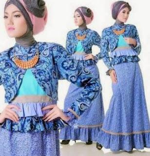 Model gamis kombinasi blazer untuk remaja putri
