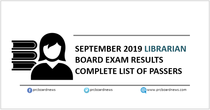 RESULT: September 2019 Librarian board exam list of passers