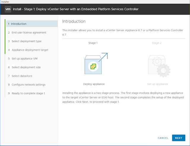 Deploy VCSA 6.7 Appliance with Embedded Platform Services Controller - Part 1