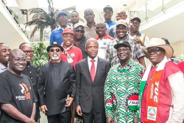 Osinbajo receives NLC, TUC leaders