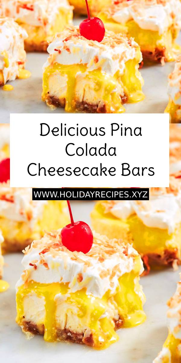 Delicious Pina Colada Cheesecake Bars Recipe - Vacation in dessert form. #delicious #pinacolada #cheesecake #bars #cheesecakebars #minicake #cakes #cakerecipe #dessert #summerrecipe #summerdessert #summerfood #recipeoftheday