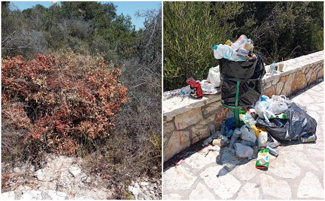 Θεσπρωτία: Σκουπιδότοπος η Μπέλα Βράκα στα Σύβοτα - Κίνδυνος πυρκαγιάς από τα ξερόχορτα