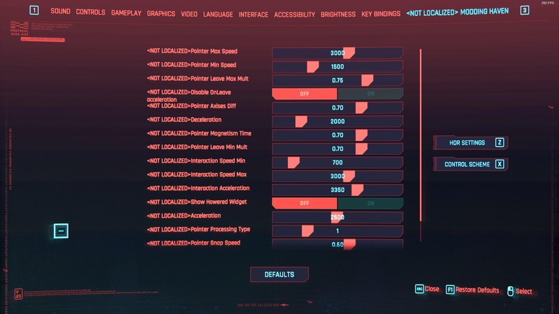 Cyberpunk 2077 Advanced Settings