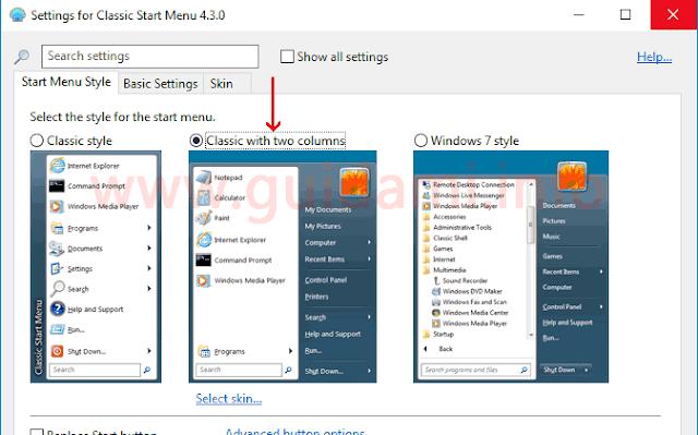 Classic Shell opzione stile start menu a due colonne