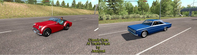 ats classic cars ai traffic pack v3.5 by jazzycat new vehicles, Plymouth Belvedere '66, Triumph TR3