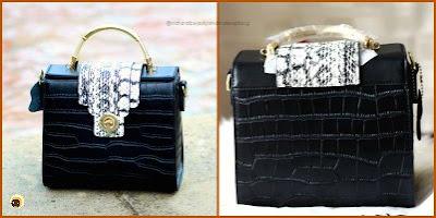 Baginning website review + black crocodile printed snakeskin strap leather satchel handbag review on NBAM Blog