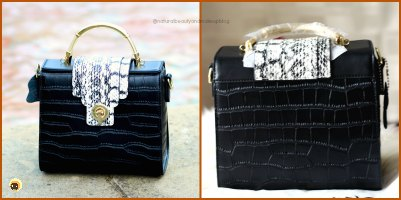 Baginning website review + black crocodile printed snakeskin strap leather satchel handbag review on NBAM Blog