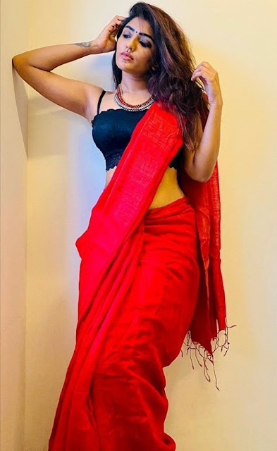 Eesha Rebba Gorgeous in Red Saree