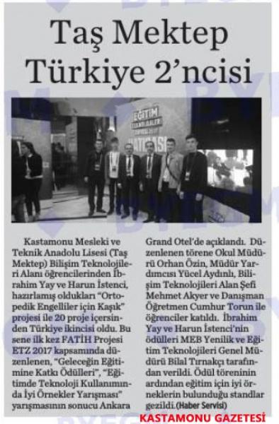Taş Mektep Türkiye 2'ncisi - Basında Harun İstenci