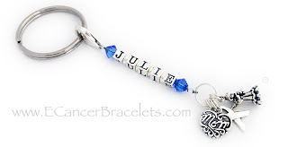 Blue Ribbon Mom Key Chain